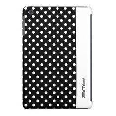 #white #dots on black with stripe #personalized by name - #ipad #case