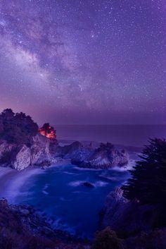 McWay Falls under galaxy, Big Sur, California