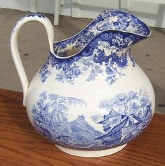 1840s English Staffordshire blue cobalt pitcher with fabulous curving lines!!!