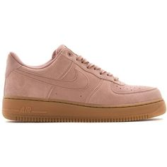 NIKE AIR FORCE 1 '07 LV8 SUEDE PARTICLE PINK ❤ liked on Polyvore featuring shoes, nike shoes, suede leather shoes, nike footwear, suede material shoes and pink shoes