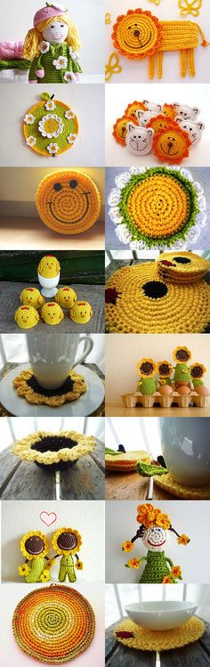 Dear Monika, let there be sun in your life! by Eva Miller on Etsy--Pinned with… Crochet Toys, Knit Crochet, Cute Clay, Granny Squares, Drink Coasters, Daily Inspiration, Crochet Earrings, Etsy Seller, Vintage Items