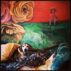Prince Pucci posing under his portrait