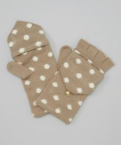 Loving this Oatmeal & Pearl Polka Dot Convertible Fingerless Gloves on #zulily! #zulilyfinds