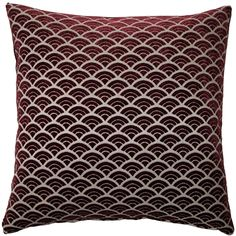 The 19 inch Seigaiha Scallop Throw Pillow is a rich wine colored scallop pattern pillow in soft velvet with a matching wine color velvet back. Red Throw Pillows, Throw Pillow Sets, Outdoor Throw Pillows, Fabric Squares, Knitted Throws, Decorative Pillows, Velvet, Traditional, Wine