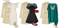 spring evening party trench coat outfits draped white dress | 40plusstyle.com
