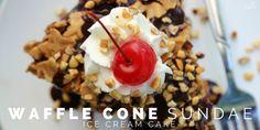 Waffle Cone Sundae Ice Cream Cake - A Dash of Sanity