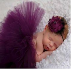 377e906b02fc8 Baby Tutu Skirt With Matching Feather and Flower Headband Set Color: Purple  Size 0-