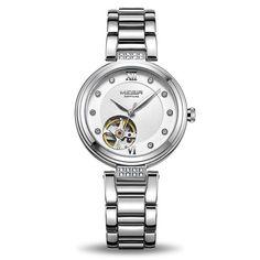 OFF Mechanical Women Watch Diamond Automatic Wrist Watch Stylish Watches, Luxury Watches For Men, Cool Watches, Breitling Watches, Fossil Watches, Sport Watches, Automatic Watch, Stainless Steel Case, Quartz Watch