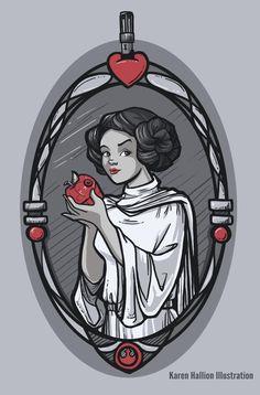 Snow White as Princess Leia by Karen Hallion
