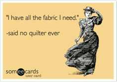 """""""I have all the fabric I need.""""   Said no quilter ever"""