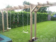 There are lots of pergola designs for you to choose from. First of all you have to decide where you are going to have your pergola and how much shade you want. Natural Playground, Backyard Playground, Backyard For Kids, Backyard Projects, Pergola Swing, Backyard Pergola, Backyard Landscaping, Pergola Kits, Pergola Ideas
