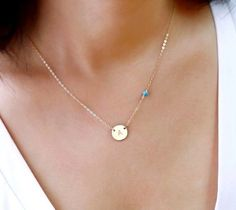 Circle Initial Charm Necklace and Small Gemstone Bead, Personalized Disc Necklace, Turquoise Birthstone Jewelry, 14k Rose Gold Fill, 925 Sterling Silver or 14k Gold fill