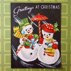 Vintage-Christmas-Greeting-Card-Snowman-Snow-Woman-Carrying-Packages-Parasol