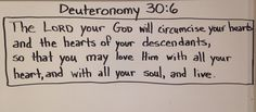 Deuteronomy 30:6 Deuteronomy 30, Bible Notes, All Souls, Love Him, Lord, Math, Math Resources, Mathematics