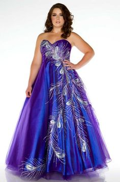 Plus size iridescent strapless sweetheart ball gown with allover feather design.