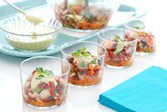 Receta de Vinagreta de pulpo con zumo de naranja para las comidas veraniegas. Aprovecha y usa pulpo cocido y congelado para que quede perfecto y blandito.