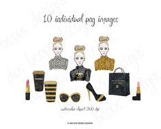 A chic & glamorous clipart collection of hand drawn fashion illustrations painted in watercolors and embellished with gold glitter. A basic commercial license is included.  This clip art set is perfect for fashion boutiques, websites, blogs, marketing material, fashion and beauty presentations, invitations, branding, and so much more!  WHAT YOU GET: -10 individual high quality images -PNG file format 300 dpi -girl illustration is apprx 2550 x 3300 pixels  The watercolor splashes in the fi...