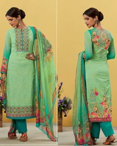1. Green shaded pure lawn cotton long suit 2. Embellished neck line, sleeves and hem with floral embroidery work 3. Comes with a matching pure cotton bottom and pure bemberg chiffon dupatta 4. Can be stitched upto bust size 42 inches
