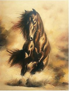 Horse oil painting by OldEmotions on Etsy