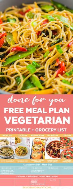 Free Vegetarian Meal Plan for the Week. Five Days of vegetarian dinners planned out for you wrapped up into a printable PDF with full recipes vegetar Vegetarian Shopping List, Vegetarian Meal Prep, Vegetarian Italian, Vegetarian Recipes Easy, Easy Dinner Recipes, Vegetarian Vietnamese, Pot Pasta, Free Meal Plans, Meal Prep For The Week