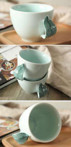 Ceramic Leaf Handle Coffee Mug