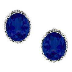 Simple Oval Cut Blue Sapphire Diamond White Gold Stud Earrings For Women Available Exclusively at Gemologica.com