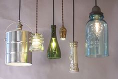 I love the idea of pendant lights made from old glass items and especially a flashlight pendant..that's humorous!