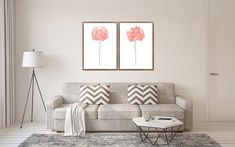 Abstract Flower, Set of 2, Living Room Decor, Pink Wall Painting, Flower Art Print, Floral Poster