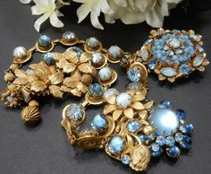 Vtg Signed Miriam Haskell Blue Moonstone Necklace & Brooch & DeMario NY Earrings #MiriamHaskell