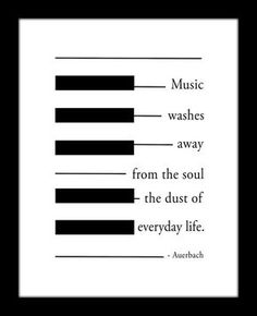 Auerbach Music Quote, Black and White, Piano Keyboard Illustration, Music Washes Away From the Soul the Dust of Everyday Life - Auerbach Music Quote Black and White Piano by MusicArtandMore