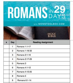 Printable reading schedule for Romans in 29 Days-- perfect for Feb!