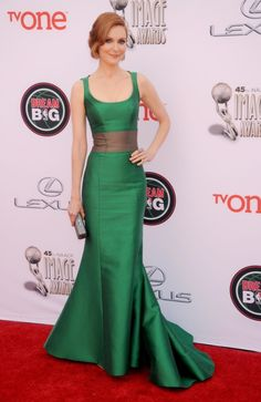 """""""Scandal"""" star Darby Stanchfield showed off her incredible figure in a form-fitting green gown at the NAACP Image Awards on Feb. 22, 2014."""
