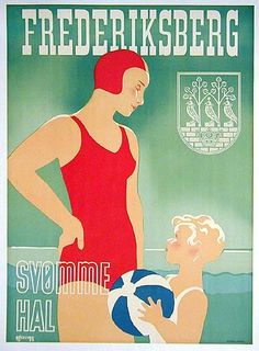 This is an original Danish travel poster for the city of Frederiksberg, Denmark advertising their indoor svømmehal (English: swimming pool). Designed by Danish poster artist Thor Bögelund, it is a beautiful exam Wall Art Prints, Canvas Prints, Blue Beach, Historical Art, Thing 1, Vintage Travel Posters, Poster Vintage, All Poster, Travel Posters