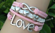 Love bracelet,infinity bracelet,cute bracelets,leather bracelets,fashion jewelry,charm beads bracelets,pink and white knit,creative jewelry