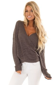 a6f9ceba2e0e6 Lime Lush Boutique - Charcoal Long Sleeve Knit Sweater with Draped Crossed  Front