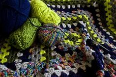 Neon and Neutral Large Granny Square Blanket #crochet