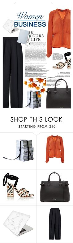 """""""Women in Business"""" by cocochanel10 ❤ liked on Polyvore featuring Balmain, Zac Posen, Gianvito Rossi, Burberry, Recover, Iris & Ink, The Idle Man, business and women"""