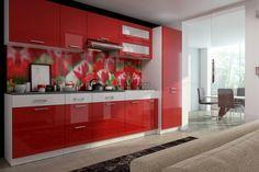 """Küchenblock Sandra 3m  Für alle, die es lieber bunt haben möchten - Die Küchenzeile """"Sandra"""" in Rot Hochglanz   Die hochwertigen Hochglanz 16 mm MDF Fronten in Rot Hochglanz zeichnen die Küche aus und schenken dem Raum einen Charme. Die Doppellochbohrung Griffe vervollständigen die Eleganz der Küche.  In dieser Küche findet alles seinen Platz. Die hervorragenden Ladenelemente und auch die Inneneinteilungen bieten sehr viel Stauraum.  Eine Küche, die keine Wünsche offen lässt! Kitchen Cabinets, Bunt, Home Decor, Kitchen Islands, Glamour, Closet Storage, To Draw, Kitchen Cupboards, Homemade Home Decor"""