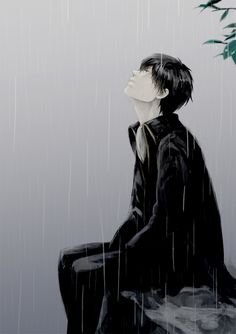 Sakurana, Gin Tama, Hijikata Toushirou, Looking Up, Shinsengumi Uniform (Gin Tama), Rain