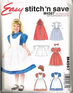 Children Cape Red Riding Hood Alice in by Pinaford Storybook Costume Sewing Pattern McCalls 4567 PeoplePackages on Etsy