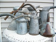 Galvanized Liquid Can / Spout by assemblage333 on Etsy, $20.00