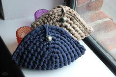 Cotton handbag crochet clutch handmade with eco friendly knitted Tshirt yarn… Crochet Clutch Bags, Crochet Wallet, Crochet Handbags, Crochet T Shirts, Knit Or Crochet, Crochet Gifts, Crochet Shell Stitch, Yarn Bag, Finger Knitting