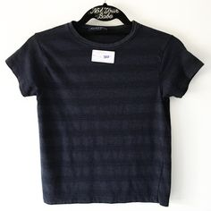"""Sample navy striped top 20"""" in length, with a stapled sample label sticker  Color: Navy and black stripes Brandy Melville Tops Tees - Short Sleeve"""