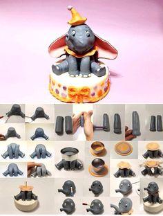 Dumbo tuto Disney Cake Toppers, Fondant Cupcake Toppers, Disney Cakes, Fondant Cakes, Fondant Cake Tutorial, Cake Topper Tutorial, Fondant Figures, Dumbo Cake, Dumbo Birthday Party