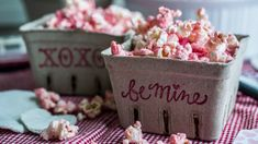 Strawberry-Dusted Popcorn: a fun and healthy Valentine's treat from The Hanging Spoon