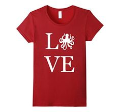 Women�s Love Octopus Shirt, I Love Octopuses Squid T-Shirt Graphic Large�