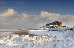 Bamburgh Castle in the snow.