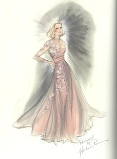 I think Edith Head was one of the greatest designers of all time. She really knew her clients bodies and always flattered them! -Grace Kelly's sketch for High Society by Edith Head (1956)