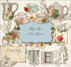 Tea Time  Clip art  for scrapbooking card & invintation by martora, Etsy,   ✿ pinned by Colette's Cottage ✿