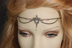 Head Jewelry Headjewelry Head Chain Headchain Head Dress Headpiece Head Piece Elvish Soft Pink